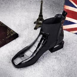 Botas x dedo del pie online-Venta caliente-Chic Mujer Botas Brillante PU Cuero Otoño Invierno Zapatos Mujer Spuare Toe Block Tacones Botines Mujer Botas Mujer X-182