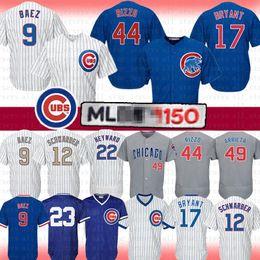 a16ab87713a 9 Javier Baez Chicago 44 Anthony Rizzo Cubs Baseball Jersey 17 Kris Bryant  12 Kyle Schwarber Majestic Arrieta Heyward Sandberg Jerseys