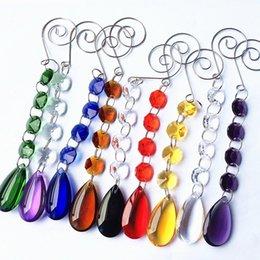 Perles de cristal multicolores 2pcs / lot avec des gouttes d'eau ovales pour la décoration de mariage suspendus pendentifs / Cake Topper Supply ? partir de fabricateur