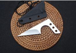 Faca de ferramentas de resgate ao ar livre on-line-Mini Colar faca 440C empurrar faca ao ar livre ferramenta prática EDC camping defesa de caça de resgate portátil faca de bolso