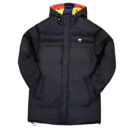 Casual chaud impression lettre coton rembourré coton épaississant Parkas vêtements masculins 2018 hiver loisirs chapeau lâche noir blanc hommes manteau ? partir de fabricateur