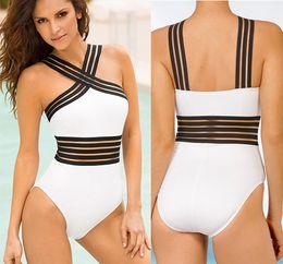 9f392e4f6 Halter top Patchwork uma peça swimsuit feminino push up biquíni 2019 branco  preto swimwear mulheres monokini Vintage maiô Novo