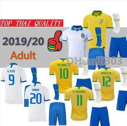 Copa de futbol online-2019 Copa América Brasil camiseta de fútbol kit uniforme 19/20 brasil camiseta de fútbol P.COUTINHO G.JESUS D.COSTA conjunto de camiseta de fútbol para adultos