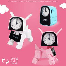 2019 reloj reloj temporizador Niños Cute Deformation Dog Alarm Clock Cartoon Robot Watch Niños despertador Wake Up Clock Digital Timer Desk Home Decor rebajas reloj reloj temporizador