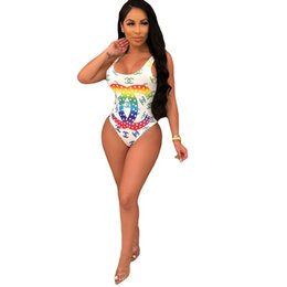 Einteiliger badeanzug online-Sexy One Piece Bodysuit Sommer Bunten Brief Gedruckt Bademode Frauen High Cut Low Back Badeanzug Mode Strand WearLB3005