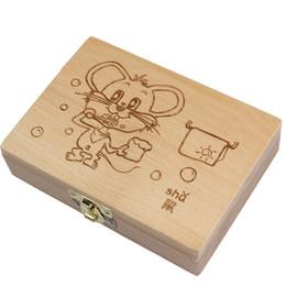 2019 tambores de brinquedo chineses Tooth Organizer Baby Salvar Dentes De Leite Caixa De Armazenamento De Madeira Grandes Presentes 3-6years Criativo Para Crianças Chineses Zodiac Rato Q190530