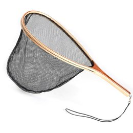 Ручные сети онлайн-Wooden Handle  Fishing Hand Weaving Net Nylon Rubber Nets Fishing Gear Export Supplies