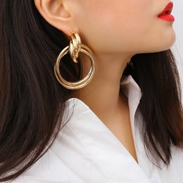 d22d41408 Gold Silver Hoops Earrings Minimalist Thick Tube Round Circle Rings Earrings  For Women Zinc Alloy Trendy Hiphop Rock Z1