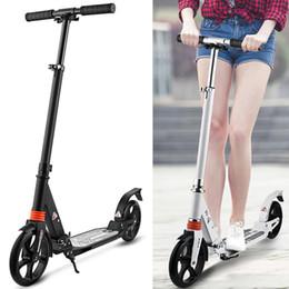Scooter plegable para adultos online-Liquidación Kick Hijos Adultos de ciclomotores Ruedas de aleación de aluminio ajustable T-Style Diseño robusto ligero plegable del pie Vespa