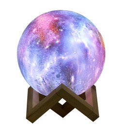 Usb-сенсорная лампа онлайн-2019 Dropship новое прибытие 3D печать Galaxy Moon Lamp красочные изменения сенсорный Светодиодный ночник домашнего декора творческий подарок Usb-I78