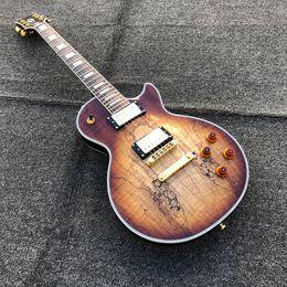 guitarra de perno Rebajas Custom 59 Vintage Spalted Maple Top Cuerpo de caoba Cuerpo sólido HH Cera Recipientes en maceta Sintonizadores Grover Guitarra eléctrica Envío gratis
