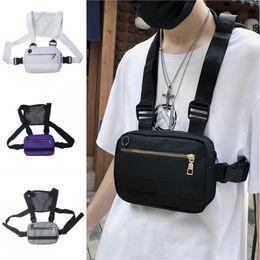 Тактическая сумка для талии онлайн-2019 Мужчины Женщины тактические мини грудь сумки хип-хоп уличная талия пакеты регулируемые сумки через плечо 4 цвета восхождение сумка M213F