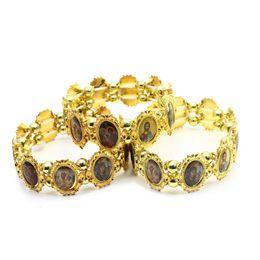 Religieux Chrétien Bijoux Bracelet En Alliage D'or Chaîne Perle Orthodoxe Images Saintes Main Chapelet Élastique Bracelet Cadeaux pour la Fête ? partir de fabricateur