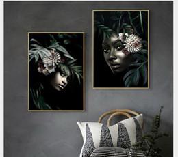 Wholesale Peintures décoratives de style africain murales Black Black tentures de porche Art individuel peinture à l huile canapé fond peintures murales