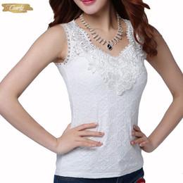 Blusa de renda preta sexy e sem manga on-line-Sexy Womens blusa de renda shirt do verão elegante mangas e Branco Preto Crochet Lace shirt Tops Blusas Mulher Blusas Vest Camisa