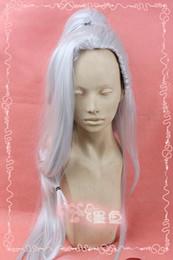 Canada Livraison gratuiteNew JX trois Silver White Cosplay Party Perruque Anime + Clip Queue De Cheval supplier white silver ponytail Offre