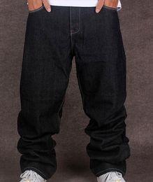 Jeans de hip hop tamaño 44 online-Black Jeans holgados hombres Hip Hop de Calle Skater Pantalones vaqueros flojos Hiphop Tamaño Fit Plus Size 42 44 Envío gratuito