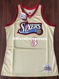 Basket rare en Ligne-Haut cousu Allen Iverson # 3 Gold Jersey 1997-98 Rare Maillot Rétro T-shirt Taille XS-6XL Maillots de Basketball Homme