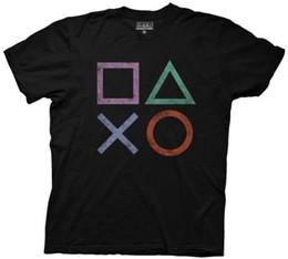PlayStation Iconos de videojuegos antiguos Con licencia de algodón para adultos Camiseta Razonable Venta al por mayor camiseta de manga corta para hombres Camiseta o cuello desde fabricantes