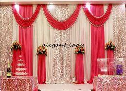 Scène de mariage drape en Ligne-3m * 6m mariage toile de fond swag partie rideau célébration scène performance fond drapé avec perles paillettes bord 5 couleurs disponible