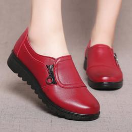 955daf2f9 2019 Moda Soft Couro Rodada cabeça Mulheres Apartamentos Casuais Lado Da  Senhora Zíper Plana Sapatos Oxford Nova Mãe único Sapatos
