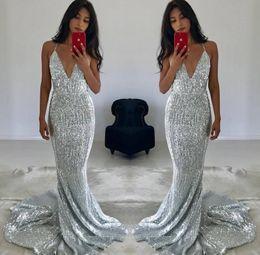 ccf002bd27d gorgeous halter prom dresses Promo Codes - 2019 Gorgeous Deep V Neck Silver  Mermaid Evening Dresses