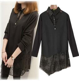 d232daa784d52 Plus Size Lapel Long Sleeve Womens Dress 2019 Spring Autumn Shirt Dress  Fashion Casual Lace Knitted Dresses