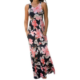 701d660e6a27 2019 Summer Sexy Womens Casual Clothing Sleeveless Beach Long Dress Elegant Ladies  Boho Floral Printed Maxi Party Dresses