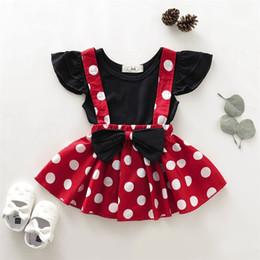 2020 traje de falda de lunares 2pcs infante de la niña del lunar ropa de vestir + Negro Soild tapas de la camisa de la falda fijaron el equipo rebajas traje de falda de lunares