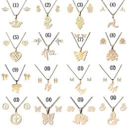 316L Paslanmaz çelik Takı setleri Taç Kafatası kelebek Fil Kalp kolye kolye kadınlar Için Moda Takı Saplama Küpe Set nereden
