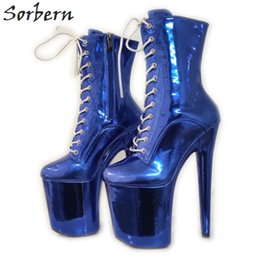 pole dancers Coupons - Metallic Royal Blue Boots For Women Fetish Footwear Killer Extreme Heels Exotic Dancer Pole Heels Booties Custom Color
