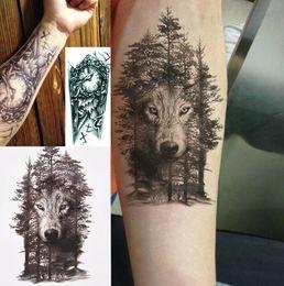 1 Pc Imperméable À L'eau Temporaire Tatouage Autocollant Poitrine Horloge Loup Forêt Tatto Autocollants Flash Tatoo Faux Tatouages Pour Femmes Hommes ? partir de fabricateur
