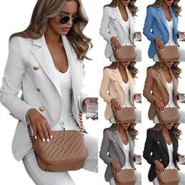 Chaquetas formales para mujer online-S-5XL del tamaño extra grande de las mujeres de cuello Blazer juego de las señoras chaqueta fina formal camiseta de manga larga casual Cardigan Escudo trabajo de oficina Delgado