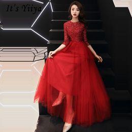 2019 vestido vermelho com lantejoulas Vestidos De Gala De Lantejoulas Vermelhas O-pescoço Longo Vestidos Mulheres Partido Noite Apertado Tule Meia Manga Prom Vestido Plus Size 2019 E458 vestido vermelho com lantejoulas barato