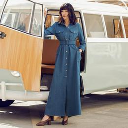 f369f4d70d9 women A-line denim dress 2019 Spring winter Vintage Long shirt Dress elegant  Cotton Dress XXL plus size with pocket