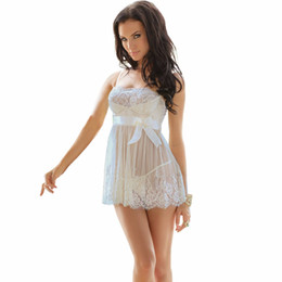 Vestito da notte sexy bianco della biancheria online-S-6XL Plus Size Donne Sheer Lingerie White Lace Lingerie sexy Hot Erotic Lingerie Sexy Night Dress Babydoll Regalo di Natale