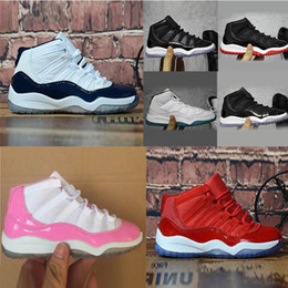 Tênis vermelhos para crianças pequenas on-line-Bred XI 11S Kids Basketball Shoes Gym Red Infant & Children toddler Gamma Blue Concord 11 trainers boy girl tn sneakers Space Jam Child Kids