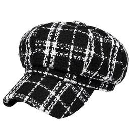 boina del ejército rojo Rebajas Retro estilo británico a cuadros otoño invierno de lana cálida mujer enarbolada Cap Boinas sombrero