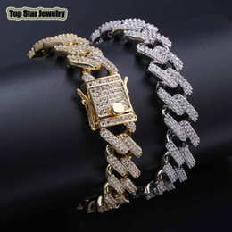 "cuban link chain women Promo Codes - 7"" 8"" 14mm Men Women HipHop MIAMI CUBAN LINK Chain Bracelets Casting Fully Micro Cubic Zirconia Clasp ICED OUT Bling DJ Rapper Jewelry"