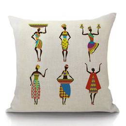 Африканские стулья онлайн-Горячий африканский Tribal Подушка Хлопок Лен Африка Оригинал Женщины Жизнь Наволочка Председатель Подушка Обложка Оптовая Капля Sshipping