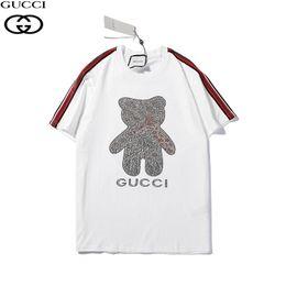 Pipes pour hommes en Ligne-Mens Designer T-shirts Coton Crystal Piping Logo Gucc T-shirt Little Bear Manches Courtes Femmes Vêtements Muticolor