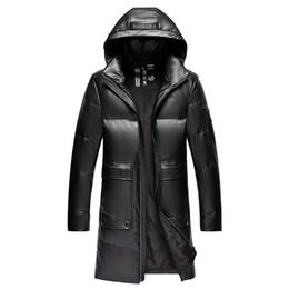 Lange Leder Daunenjacke Herren Winter Parka Feder Coats Hoodies Warm windundurchlässige wasserdicht Overcoat Schnee Wear Plus Size M XXXXL