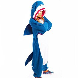 Adulto Shark Kigurumi Onesie Anime In Pile Costume Cosplay Pigiama Blu Carnevale di Halloween Tuta Sciolto Masquerade Outfit da
