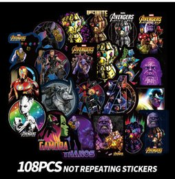 108 Unids / lote Pegatinas de Dibujos Animados Para Marvel Thanos Super Hero DC Para Portátil PC Monopatín Bicicleta Coche Moto DIY Etiqueta Impermeable desde fabricantes