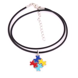 Многоцелевое ожерелье из бисера онлайн-HS19 Autism Hope Jewelry Multi-Colored enamel puzzle Piece Pendant with Wheat link Chain  Leather cord chain Snake Chain  Bead necklace