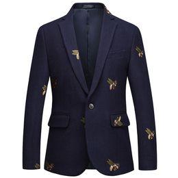 trajes de boda elegantes para los hombres Rebajas Blazer bordado de abeja Slim Fit Masculino Abiti Uomo 2019 Boda Prom Blazers Tweed de lana para hombre elegante traje chaqueta