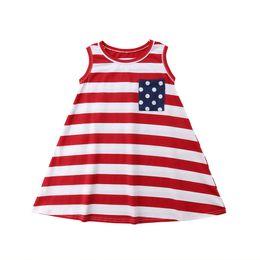 vestido de rayas rojas blancas para niños Rebajas dreess informal pudcoco partido de la borla de los bebés de los niños vestido rojo rayado blanco vestido de algodón ropa de la princesa vestido sin mangas de los niños