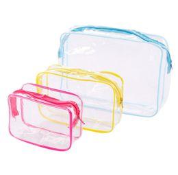 bolsas de cosméticos amarillas casos Rebajas Bolso transparente cosmética de baño Lavadero maquillaje claro bolsas de cremallera de las mujeres organizador de viajes de PVC neceser Rojo Azul Amarillo HHAa131