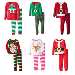 Pijamas de algodón para niños online-Conjuntos de ropa navideña para niños Algodón Casual Moose Top estampado Pijamas Ropa para niños Desinger Pantalones a rayas para niñas Conjuntos de dos piezas Conjuntos para niños 04