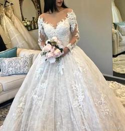 manga cheia vestido Desconto Uma linha completa vestidos de noiva de renda 2019 decote em v mangas compridas apliques de tule equipado inchado vestidos de noiva bc0325